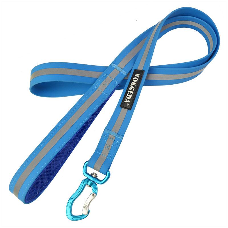 Blue Silicone Reflective Dog Collar And Leash Set