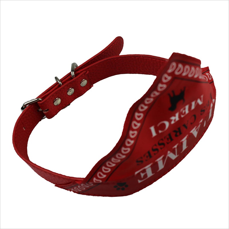 Dog Bandana Collar Adjustable Red Leather Dog Bandana Collar